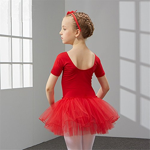 SJMMWD dance clothing Children Dance Costumes Children's dance costume, dancing performance, training dress for girls and ballet dresses for children,gules,130cm by SJMMWD