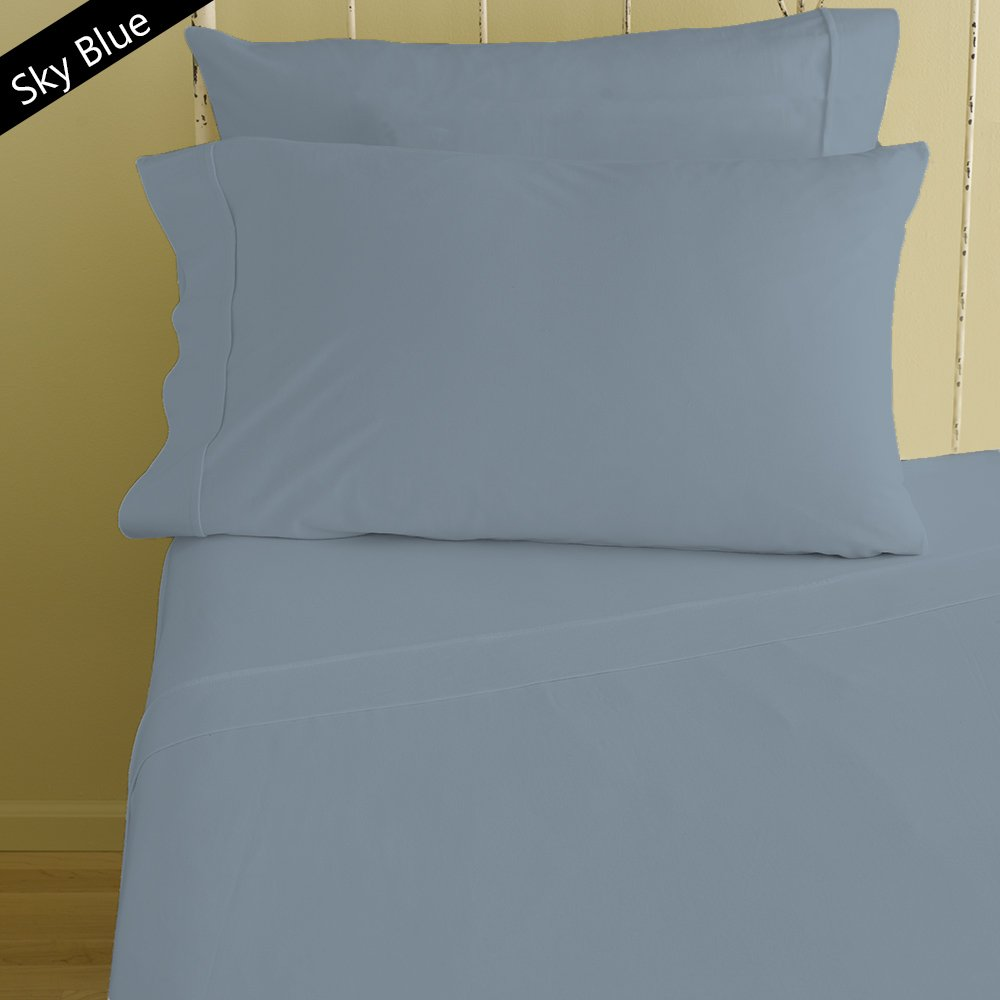 1000 Thread Count 100% Egyptian Cotton Hotel Finish Adjustable Room 1-Piece- Fitted- Sheet with 6-10 inches Extra Fit Deep Pocket Both Pattern Solid/Stripe (Full XL , Solid , Sky Blue).