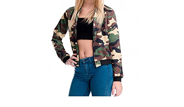 Amazon.com: Women Bomber Jacket 3D Printed Camouflage Chaquetas Mujer Outwear Long Sleeve Casual Coats Basic Jackets jka36076 One Size: Clothing