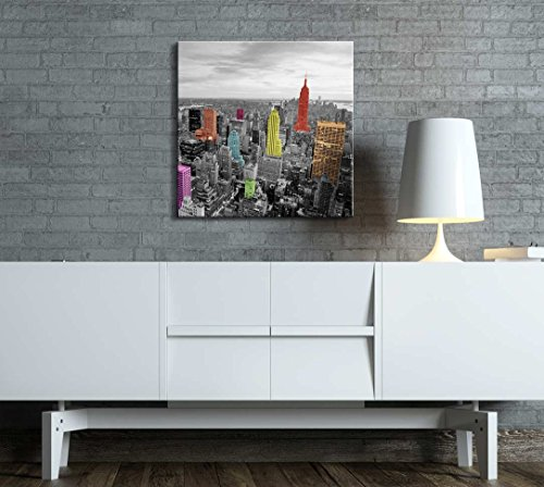 Black and White Photograph of The City with Pops of Color on The Buildings of New York