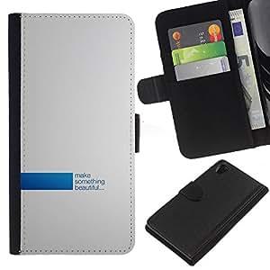 LECELL--Cuero de la tarjeta la carpeta del tirón Smartphone Slots Protección Holder For Sony Xperia Z2 D6502 -- Hacer algo hermoso --