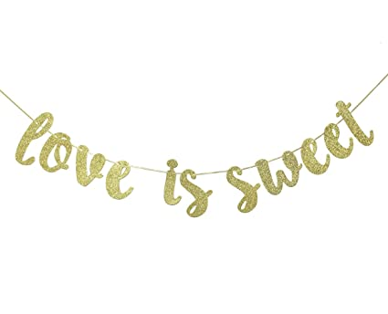 Amazon.com: Love is Sweet Banner – cartel con purpurina ...