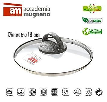 Tapa vidrio 16CM ollas cacerolas y sartenes - Accademia Mugnano CUORE DI PIETRA: Amazon.es: Hogar
