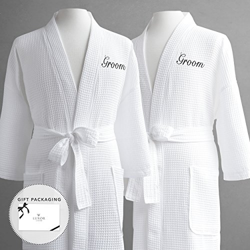 Same-Sex Couple's Waffle Weave Bathrobe Set-100% Egyptian Cotton-Unisex/One Size Fits Most-Spa Robe, Luxurious, Soft, Plush, Elegant Script Embroidery-Luxor Linens-Groom/Groom with Gift Packaging by Luxor Linens