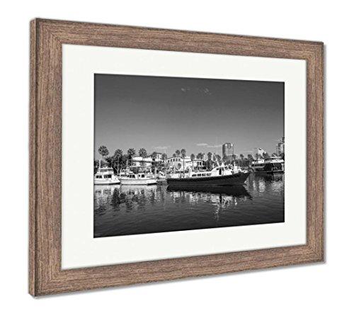 Ashley Framed Prints Long Beach Marina and City Skyline Long Beach Ca, Wall Art Home Decoration, Black/White, 26x30 (Frame Size), Rustic Barn Wood Frame, AG5619961