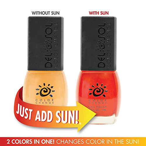 Del Sol Color Changing Nail Polish, Quick Dry Lacquer that Changes Hue in the Sun! 0.5 ounce (15ML) Full Size Bottle (Peek-A-Boo - Clear to Red) (Chemical Peek)