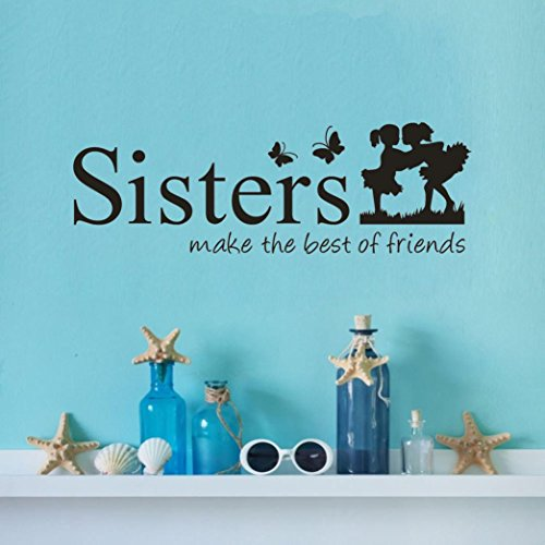 YJYDADA Wall Stickers,Sisters Wake The Best OF Friends PVC Wall Sticker Home Decor DIY Art, 60X20cm ()