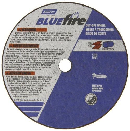 Norton Blue Fire Small Diameter Reinforced Abrasive Flat Cut-off Wheel, Type 01, Zirconia Alumina and Aluminum Oxide, 3/8