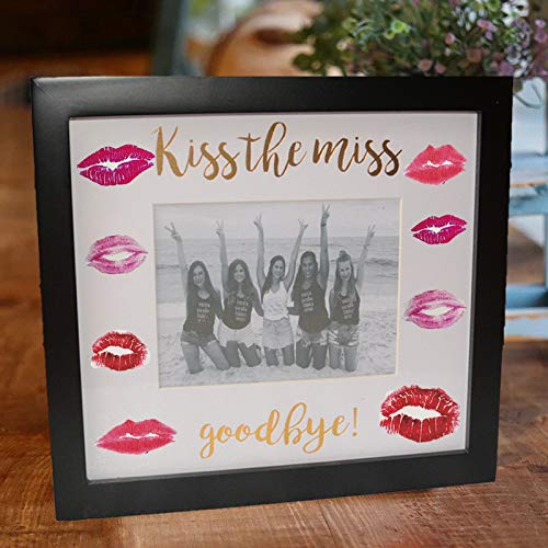Kiss The Miss Goodbye Picture Frame Bachelorette Bridal Shower keepsafe Bride to Be Wedding Gifts Guest Book ()