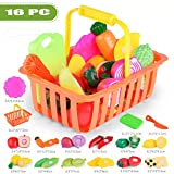 Glumes 16PCS Cutting Toys Pretend Food Fruits Vegetable Playset Educational Learning Toy Kitchen Play Boy Girl Kid with Grocery Shopping Basket
