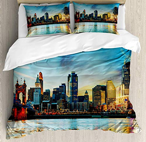 Queen Area Cincinnati Duvet Cover Set King Size, Overview of The City Nighttime at Dusk Twilight Bridge Ohio River Waterfront, Decorative 4 Piece Bedding Set with 2 Pillow Shams, Multicolor