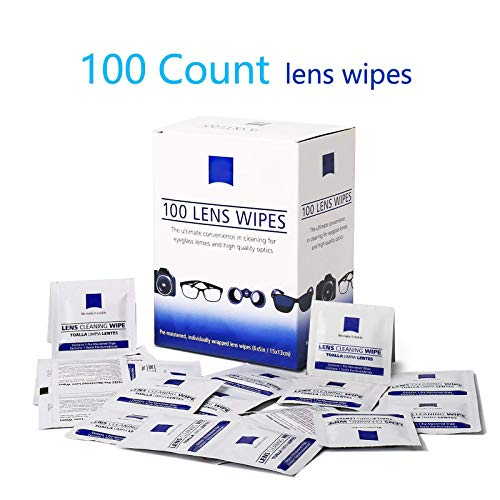 Lens Cleaning Wipes, Pre Moistened Cleansing Cloths Great for Eyeglasses, Tablets, Camera Lenses, Screens, Keyboards and Other Delicate Surfaces - 100 Individually Wrapped ()