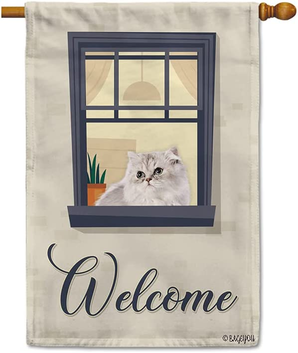 BAGEYOU Welcome to Our Home Dog House Flag Lovely Persian Cat on The Window Decor Home Banner for Outside 28x40 Inch Print Both Sides