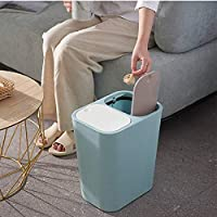 VeliHome Trash Can Rectangle Plastic Push-Button Dual Compartment 12liter Recycling Waste Bin Garbage Can