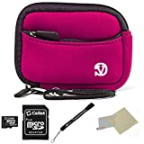 Neoprene Protective Durable Mini Sleeve (Magenta) For Nikon Coolpix S Compact Cameras + 16GB Micro SD Card + Screen Protector