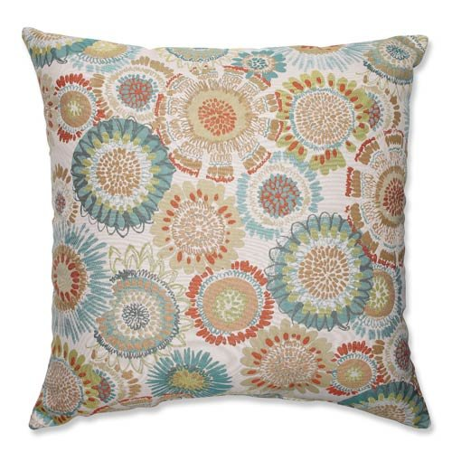 Pillow Perfect Maggie Mae Aqua Floor Pillow, 24.5-Inch, Multicolored by Pillow Perfect