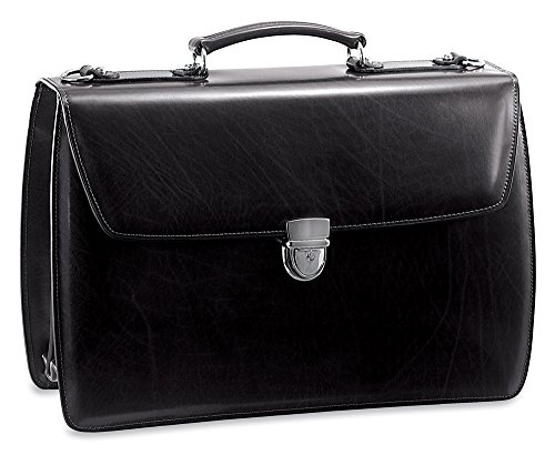 Jack Georges Elements Collection Triple Gusset Flap Over Briefcase in Black
