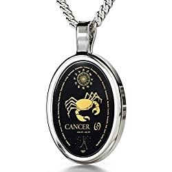 925 Silver Zodiac Pendant Cancer Necklace Inscribed in 24k Gold on Onyx Stone, 18""