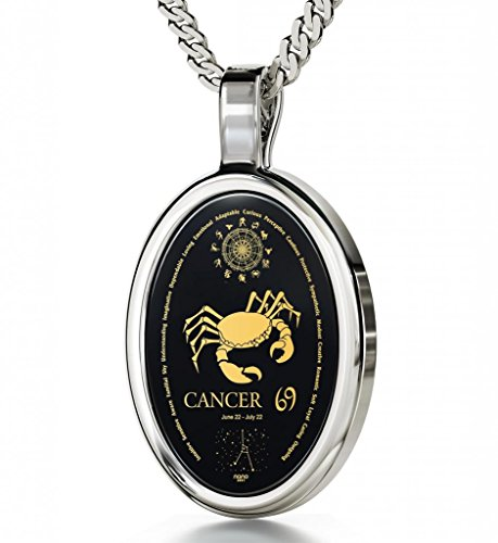 925 Sterling Silver Cancer Necklace Zodiac Pendant for Women 24k Gold Inscribed on Onyx Gemstone Birthday Jewelry 22nd June to 22nd July, 18