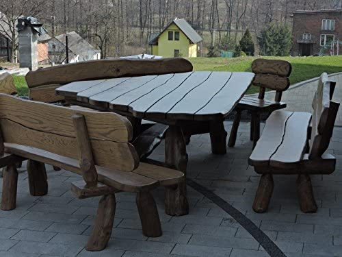 Muebles de jardín rústicos de madera maciza de aliso, roble y madera de acacia. Asientos: aprox. 11 personas, 3 bancos, 2 sillas.: Amazon.es: Jardín