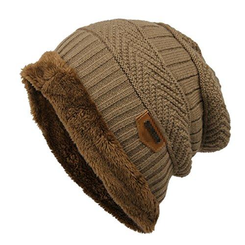 Gorro de esquí para hombre Butterme, cálido, suave, con forro grueso, lana gruesa, de uso diario café
