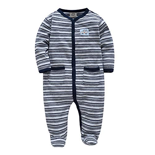 (kavkas Baby Boy Rompers Footed Striped Long Sleeve Pajamas-12M Navy)