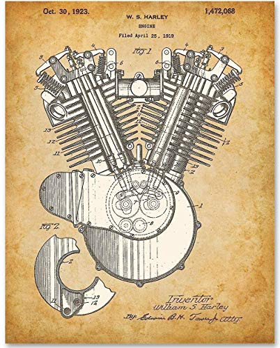 (Harley Engine - 11x14 Unframed Patent Print - Makes a Great Gift Under $15 for Hog Riders)