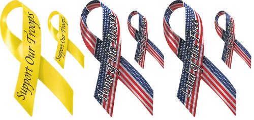 - Brewster 258-75030C 6.25-Inch Wide by 3.5-Inch High Ribbons with the Phrases Home of the Brave, Support our Troops, Land of the Free, 2-Each