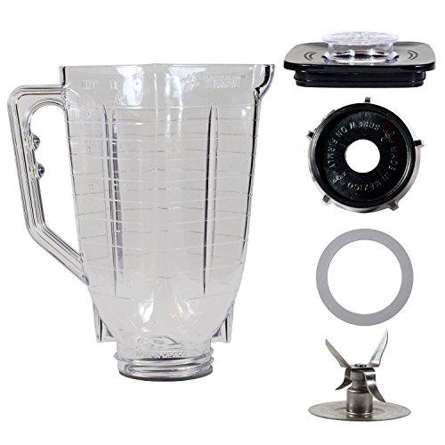 5 Cup Break Resistant Plastic Square Complete Blender Jar Fits ()