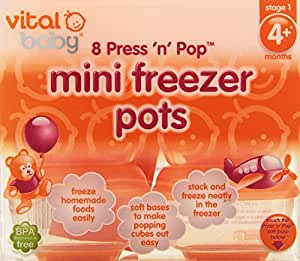 Vital Baby Press 'n' Pop Mini Freezer Pots, Orange, 1 Ounce, 8 Pack