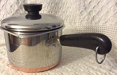 Vtg Revere Ware SS Copper Clad Bottom 1 1/2 Qt Saucepan w/ double Boiler