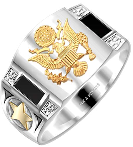 US Jewels And Gems Men's 0.925 Sterling Silver with 14k Yellow Gold Emblem Simulated Onyx US Army Ring Size 11