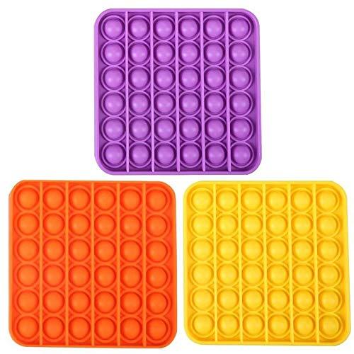 winnieindustries Push pop pop Bubble Sensory Fidget Toy Autism Special Needs Stress Reliever,Squeeze Sensory Toy, for Kids, Family,and Friends ( 3PC ) (Orange)