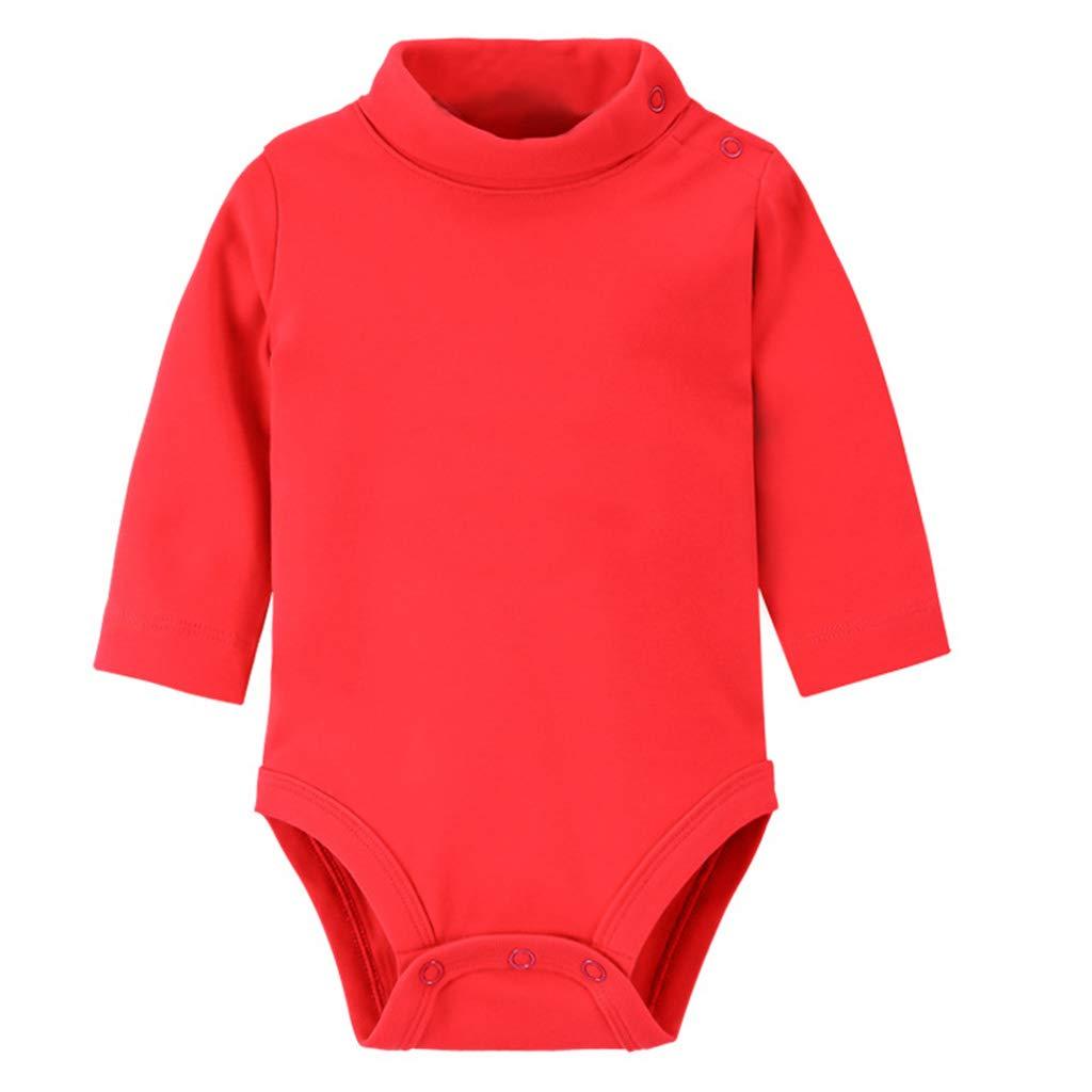 Guoyy Body bébé col roulé à Manches Longues en Coton à épaules dénudées et à épaulettes