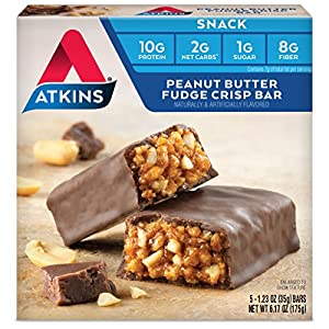Atkins Snack Bar, Peanut Butter Fudge Crisp, Keto Friendly, 5 Count