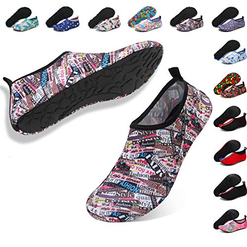 (Deevike Aqua Water Socks for Women Men Adult Quick Drying Beach Swim Pool Surf Diving Sailing Snorkeling Shoes Slip on Yoga Exercise Shoes Letters)