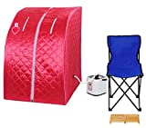 Red Portable Personal Therapeutic Steam Sauna SPA Slimming Detox-weight Loss Indoor Free Folding Chair, Foot Massager