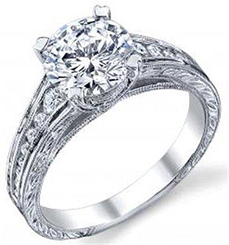 Round Channel Set Graduated Engraved Diamond Rg.30ct(cz ctr)