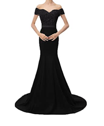 7e11801dfdc Jdress Long Mermaid Prom Dresses 2018 Off The Shoulder Lace Formal Evening  Party Gowns Black