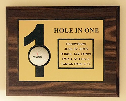 Valley Forge Wood Products Hole in One Golf Ball Display, Golf, Plaque, Personalized, Made in USA