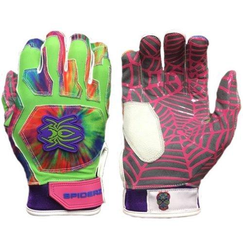 Spiderz Tripn(Tie Dye) WEB Baseball/Softball Batting Gloves w/Spider Web Grip in Adult & Youth Sizes (Adult Large)