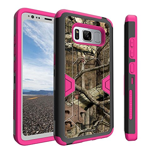 Samsung Galaxy S8 Active Pink Case [WILL ONLY FIT S8 ACTIVE VERSION] by Untouchble [Mystic Defense] Dual Layer Shockproof Pink Case Defender Protector [Kickstand] [Holster] - Real Hunter Camo