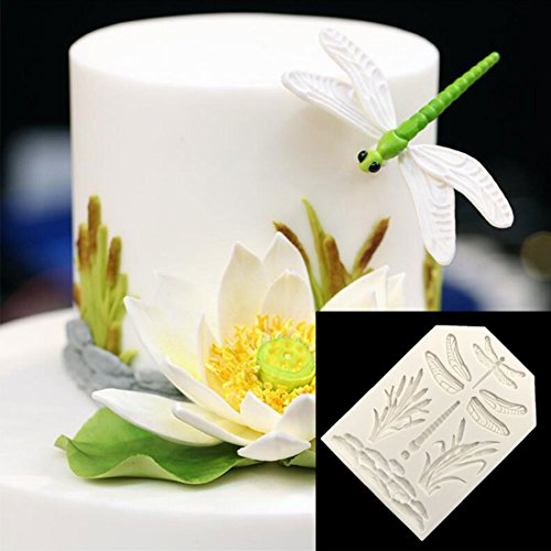 Silicone Mold - Dragonfly Grass Cake Border Decoration Silicone Mold Fondant Decorating Candy Chocolate Gumpaste - Mold Grass Dragonfly Mould Mold Fondant Grass Fondant Pastry Fondant Lace H