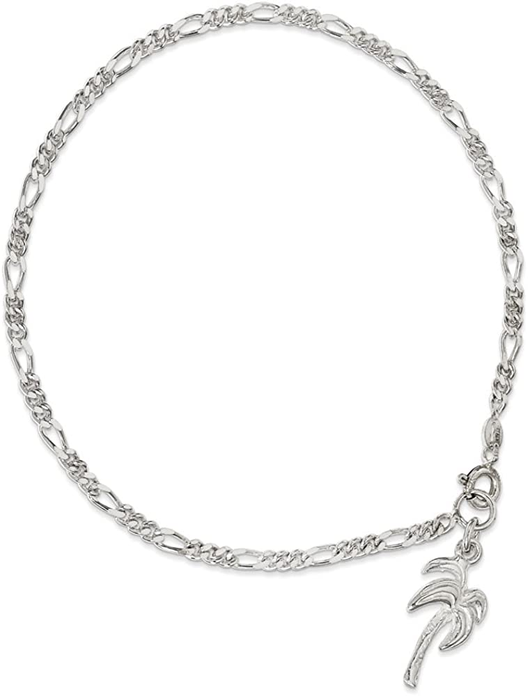 West Coast Jewelry Sterling Silver Solid Polished Palm Tree Figaro Chain Anklet - 10 Inch