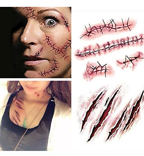 [Halloween Zombie Scars Tattoos With Fake Scab Blood Special Fx Costume Makeup Halloween Decoration] (Road Sign Halloween Costumes)