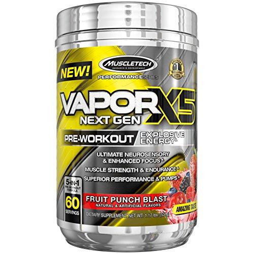 MuscleTech Vapor X5 Next Gen Pre Workout Powder, Explosive Energy Supplement, Fruit Punch Blast, 60 Servings (1.17oz)