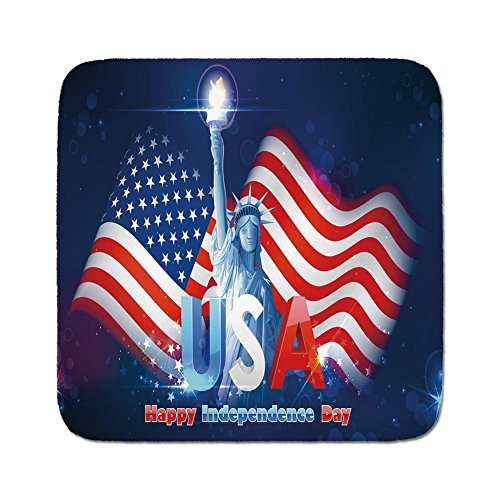 (Cozy Seat Protector Pads Cushion Area Rug,4th of July Decor,Hipster Dog with Sun Glasses and US Flag Comic Absurd Joke Illustration,Blue Red,Easy to Use on Any Surface)