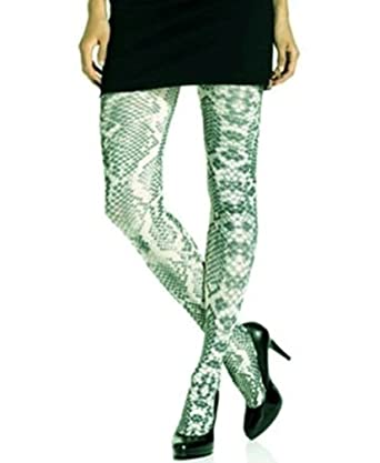 022bbe678 Hue Womans All Over Python Print Opaque Tights Teal Green (S M) at ...