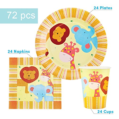Four Napkins (Jungle Party Supplies Set for 24 Guests - Includes 72 pcs total: 24 Cups, 24 Plates, 24 Napkins)