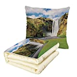 iPrint Quilt Dual-Use Pillow Waterfall Waterfall Flowing Over High Cliffs Northern America Scenic Nature Photo Multifunctional Air-Conditioning Quilt Green Blue White